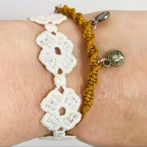 Two Boho Bracelets Set Lace Flowers Coins Crochet